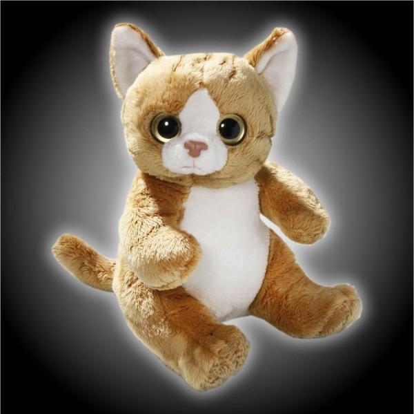 Katze braun, weiß sitzend aus Plüsch mit großen Augen, Plüsch Katze 15 cm - Kuscheltier CD-3052-02