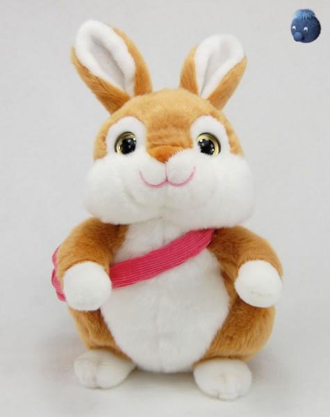 Brauner Hase sitzend mit Tasche aus Plüsch ★ Plüsch Hase 22 cm