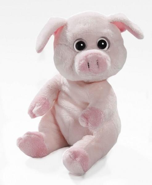 Schwein sitzend aus Plüsch mit großen Augen, Plüsch Schwein 15 cm - Kuscheltier CD-3029-02