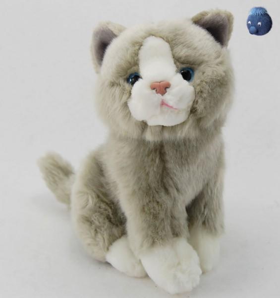 Katze grau, weiss sitzend aus Plüsch ★ Plüsch Katze 23 cm