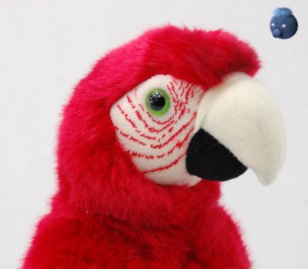 Papagei aus Plüsch, rot ★ Plüsch Papagei 25cm