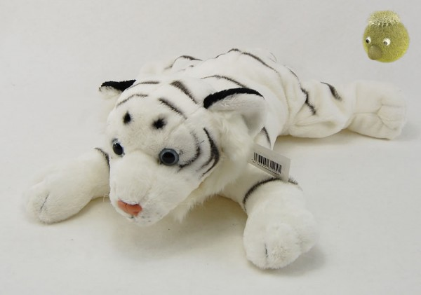 Weißer Tiger liegend aus Plüsch ★ Plüsch Tiger weich 30 cm