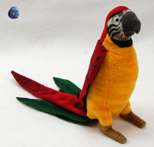 Hansa Toys ★ Plüschtier Papagei ★ Plüsch Papagei gelb/rot ★ Plüschpapagei 16 cm