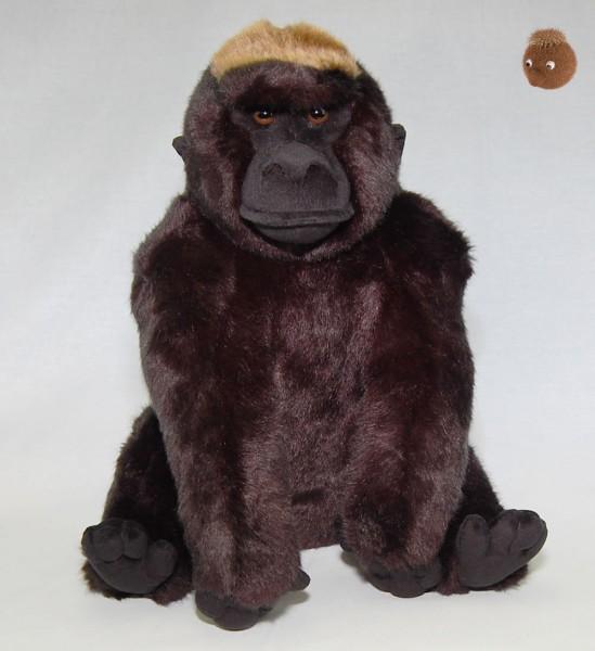 Gorilla sitzend aus Plüsch ★ Plüsch Gorilla Silberrücken 30 cm