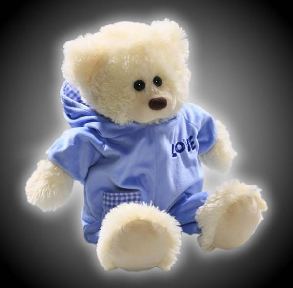 Weißer Schlafbär aus Plüsch mit blauem Schlafanzug  Teddy Plüsch Bär 42 cm  CD-3196-01