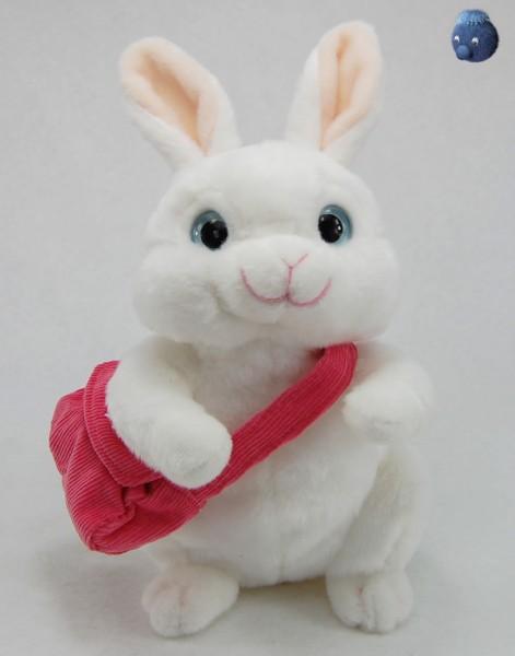 Weißer Hase sitzend mit Tasche aus Plüsch ★ Plüsch Hase 22 cm