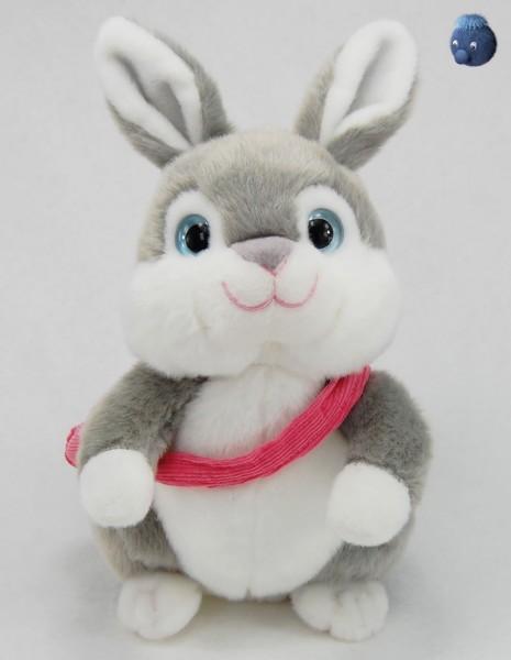 Grauer Hase sitzend mit Tasche aus Plüsch ★ Plüsch Hase 22 cm