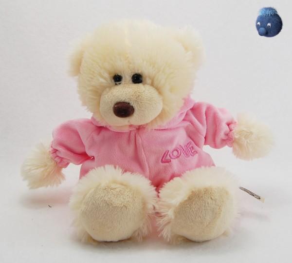 Weißer Schlafbär aus Plüsch mit rosa Schlafanzug ★ Teddy Plüsch Bär 26 cm