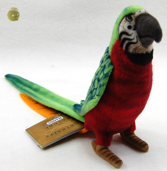 Hansa Toys ★ Plüschtier Papagei ★ Plüsch Papagei rot/grün ★ Plüschpapagei 16 cm