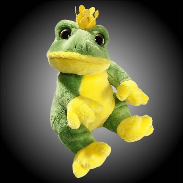 Frosch grün, gelb sitzend aus Plüsch mit großen grünen Augen, Plüsch Frosch 15 cm - Kuscheltier CD-3029-05