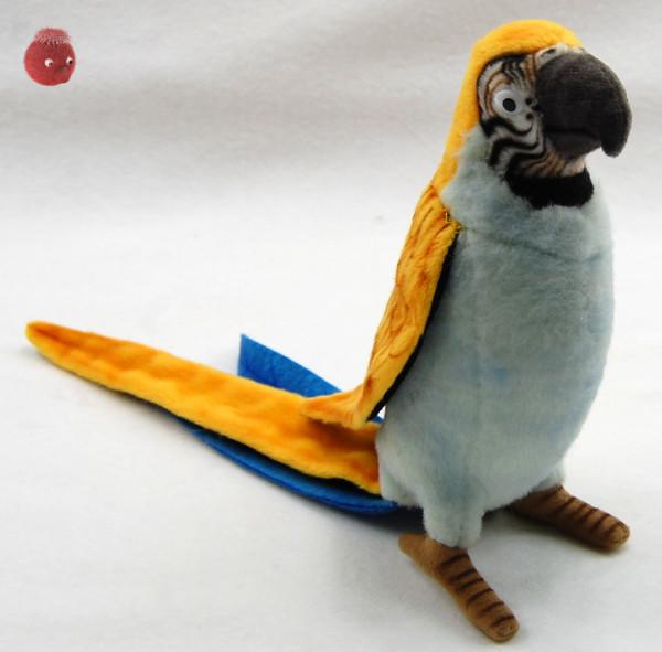 Hansa Toys ★ Plüschtier Papagei ★ Plüsch Papagei blau/gelb ★ Plüschpapagei 16 cm