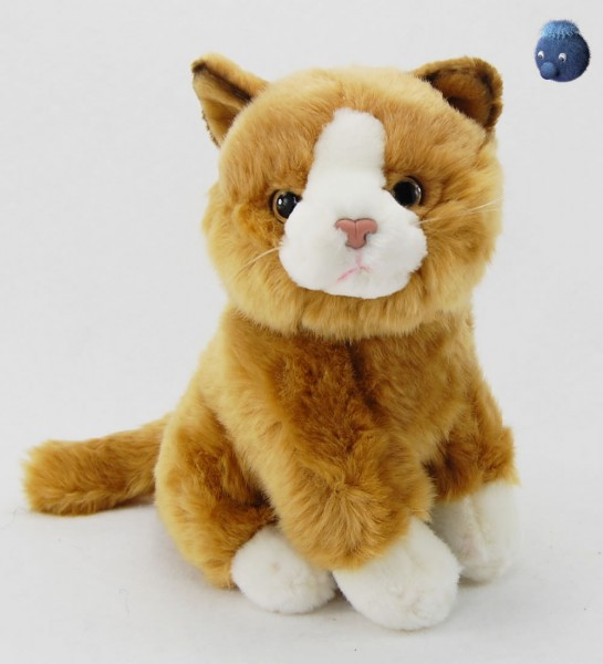 Katze braun, weiss sitzend aus Plüsch ★ Plüsch Katze 23 cm