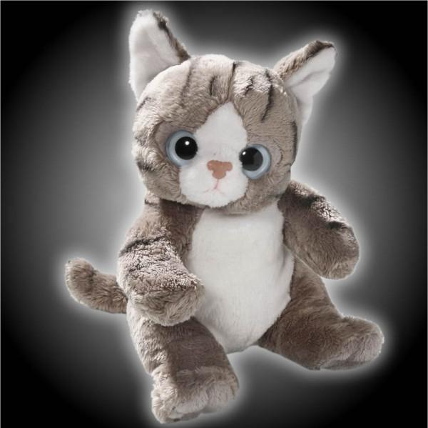 Katze grau, weiß sitzend aus Plüsch mit großen Augen, Plüsch Katze 15 cm - Kuscheltier CD-3052-03