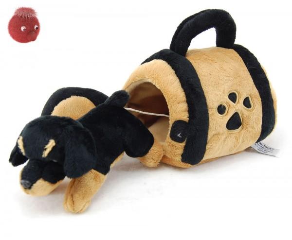 Rottweiler mit Hundehütte aus Plüsch ★ Plüschhund 15 cm