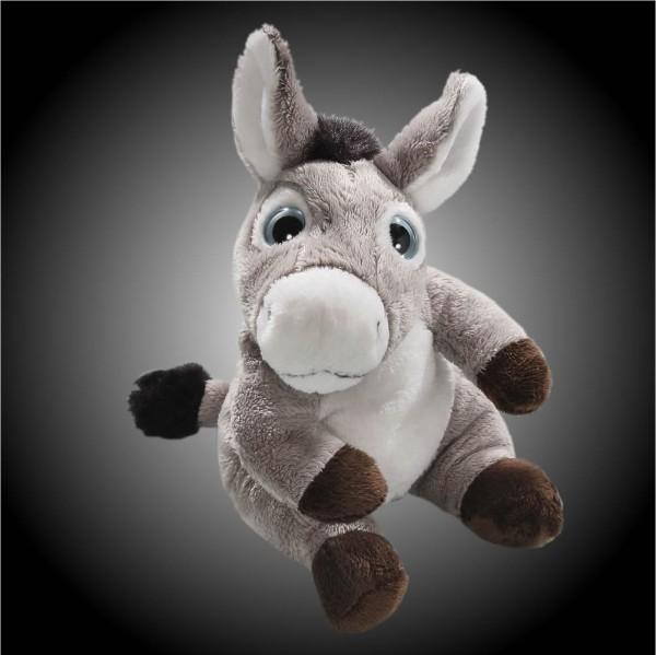 Esel grau sitzend aus Plüsch mit großen blauen Augen, Plüsch Esel 15 cm - Kuscheltier CD-3029-02