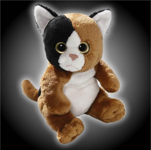 Katze braun, schwarz, weiß sitzend aus Plüsch mit großen Augen, Plüsch Katze 15 cm - Kuscheltier CD-3052-05