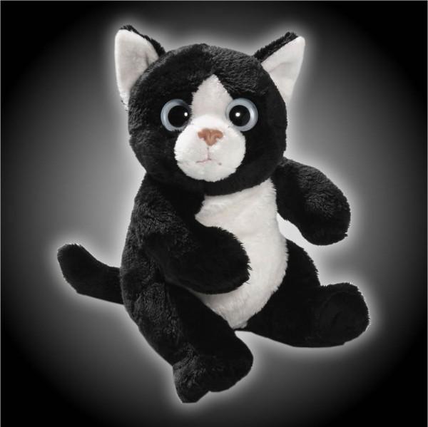 Katze schwarz, weiß sitzend aus Plüsch mit großen Augen, Plüsch Katze 15 cm - Kuscheltier CD-3052-01
