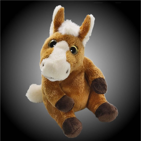 Pferd braun sitzend aus Plüsch mit großen grünen Augen, Plüsch Pferd 15 cm - Kuscheltier CD-3029-04