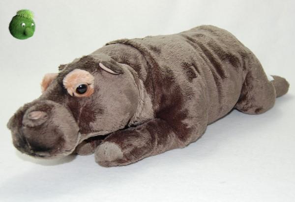 Nilpferd liegend grau ★ Plüsch Nilpferd 42cm