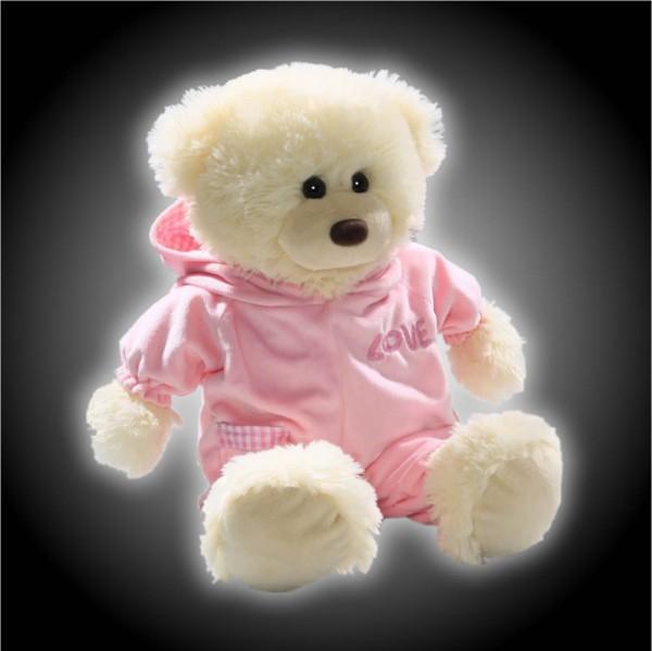 Weißer Schlafbär aus Plüsch mit rosa Schlafanzug Teddy Plüsch Bär 42 cm