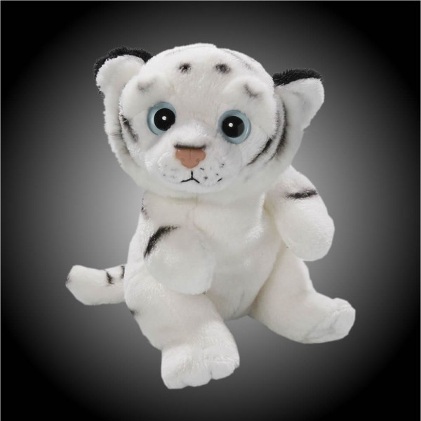 Tiger weiß sitzend aus Plüsch mit großen Augen, Plüsch Tiger 15 cm - Kuscheltier CD-3028-05
