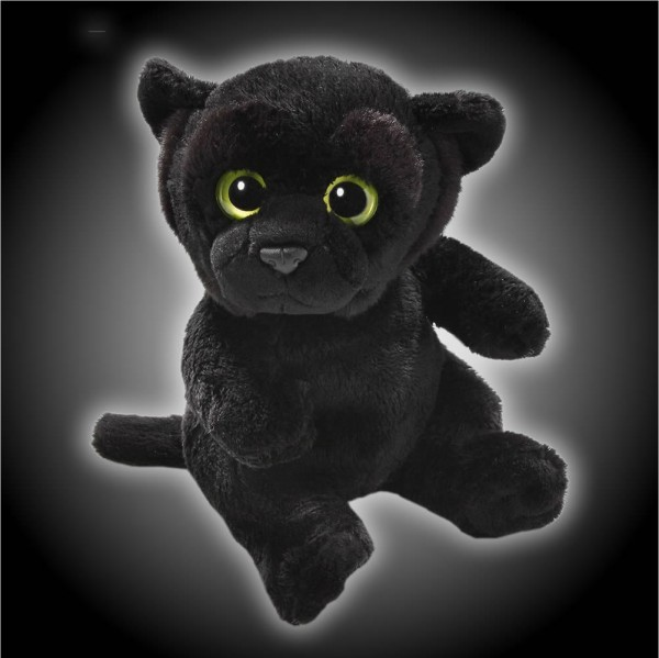 Panther schwarz sitzend aus Plüsch mit großen Augen, Plüsch Panther 15 cm - Kuscheltier CD302803